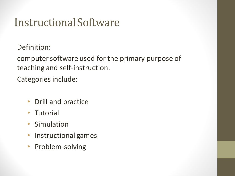 Instructional Software Definition Computer Software Used For The