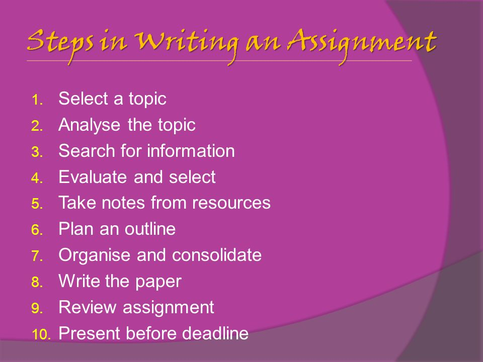Learning Outcomes  Present Your Written Assignment Effectively   Steps In Writing An Assignment  Select A Topic