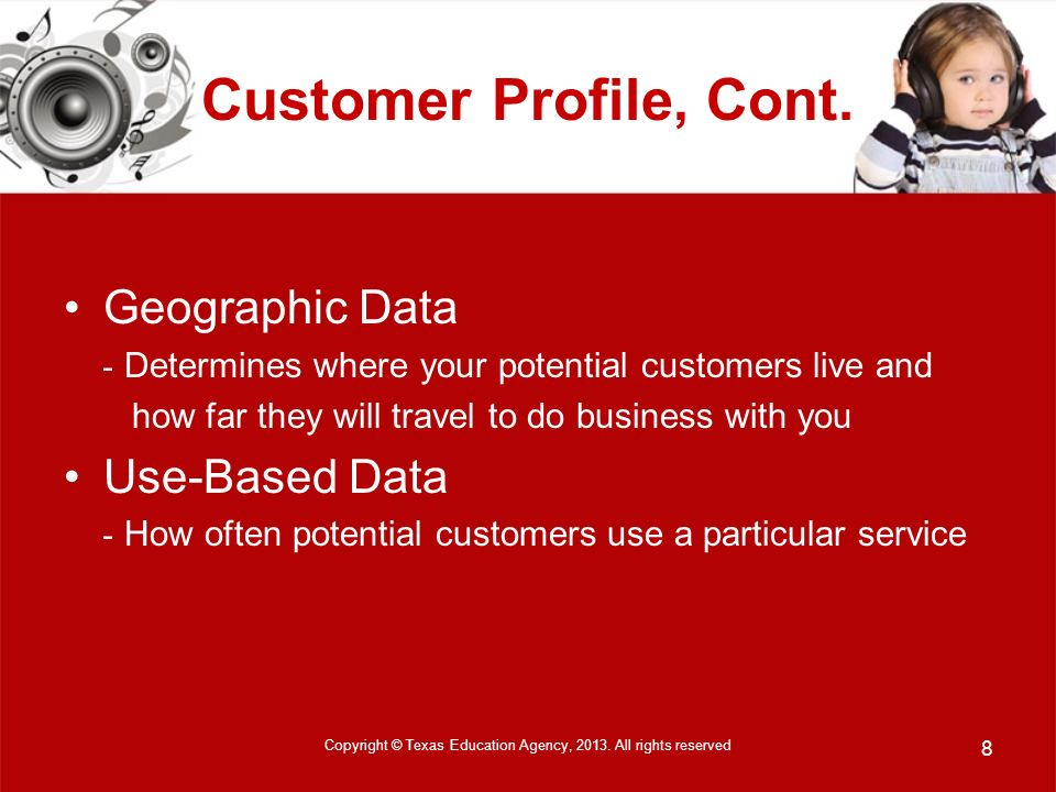 Customer Profile, Cont.