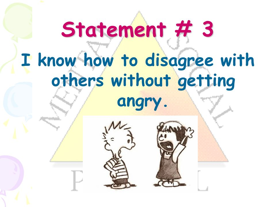 Statement # 3 I know how to disagree with others without getting angry.