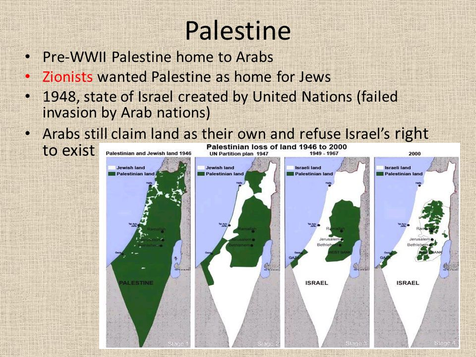 Palestine Pre-WWII Palestine home to Arabs Zionists wanted Palestine as home for Jews 1948, state of Israel created by United Nations (failed invasion by Arab nations) Arabs still claim land as their own and refuse Israel's right to exist