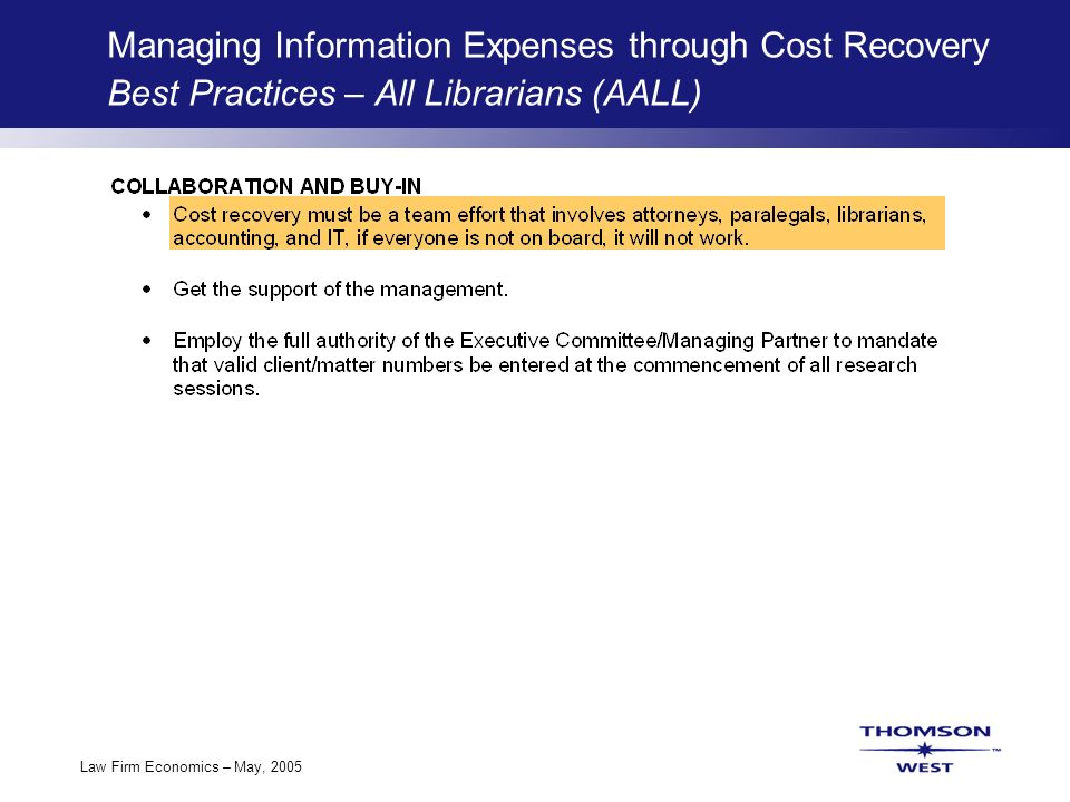 Law Firm Economics: Information Spend, Cost Recovery & the Bottom