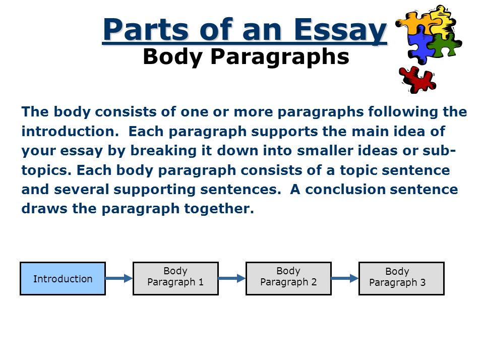 parts of an essay body paragraphs the body consists of one or more paragraphs following the