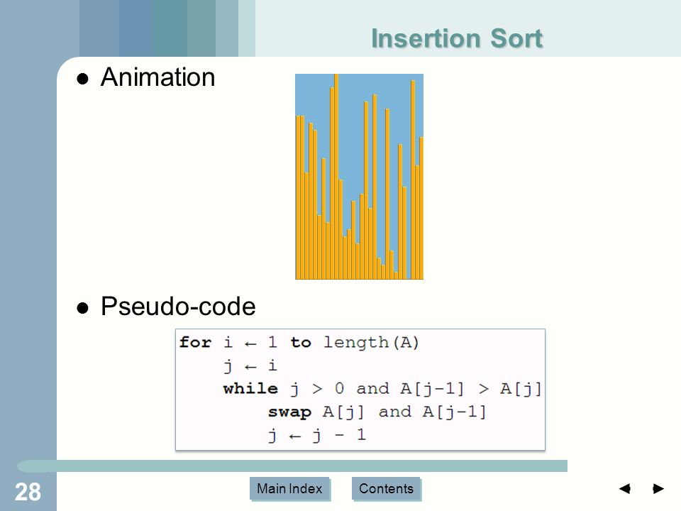 Main Index Contents Insertion Sort Animation Pseudo-code 28