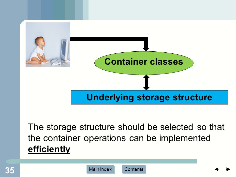 Main Index Contents 35 Underlying storage structure Container classes The storage structure should be selected so that the container operations can be implemented efficiently
