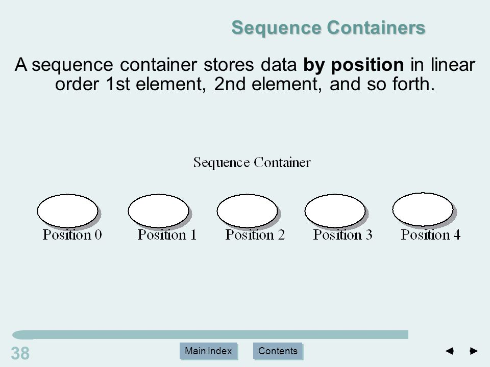 Main Index Contents 38 Main Index Contents Sequence Containers A sequence container stores data by position in linear order 1st element, 2nd element, and so forth.