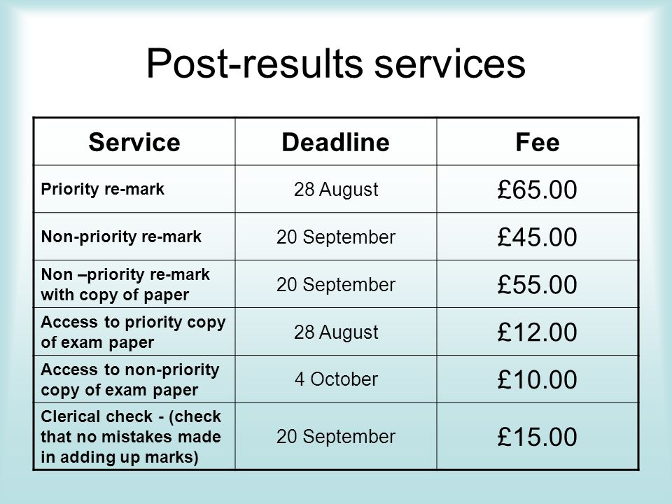 Post-results services ServiceDeadlineFee Priority re-mark 28 August £65.00 Non-priority re-mark 20 September £45.00 Non –priority re-mark with copy of paper 20 September £55.00 Access to priority copy of exam paper 28 August £12.00 Access to non-priority copy of exam paper 4 October £10.00 Clerical check - (check that no mistakes made in adding up marks) 20 September £15.00