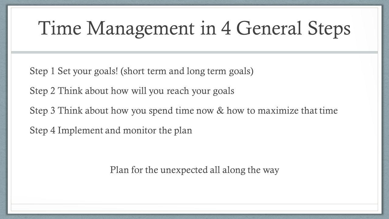 Time Management in 4 General Steps Step 1 Set your goals.