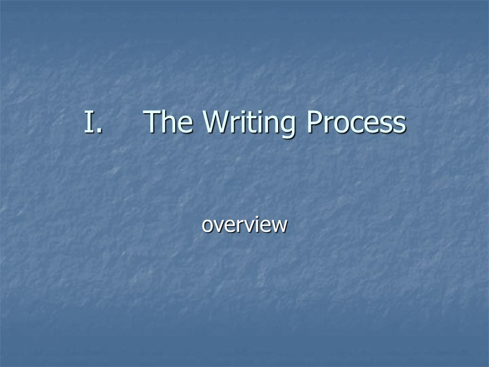 I.The Writing Process overview