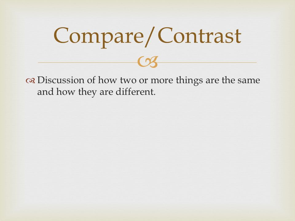   Discussion of how two or more things are the same and how they are different. Compare/Contrast