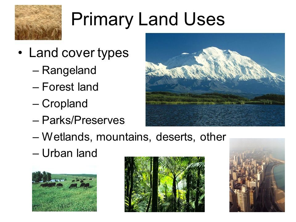 Primary Land Uses Land cover types –Rangeland –Forest land –Cropland –Parks/Preserves –Wetlands, mountains, deserts, other –Urban land