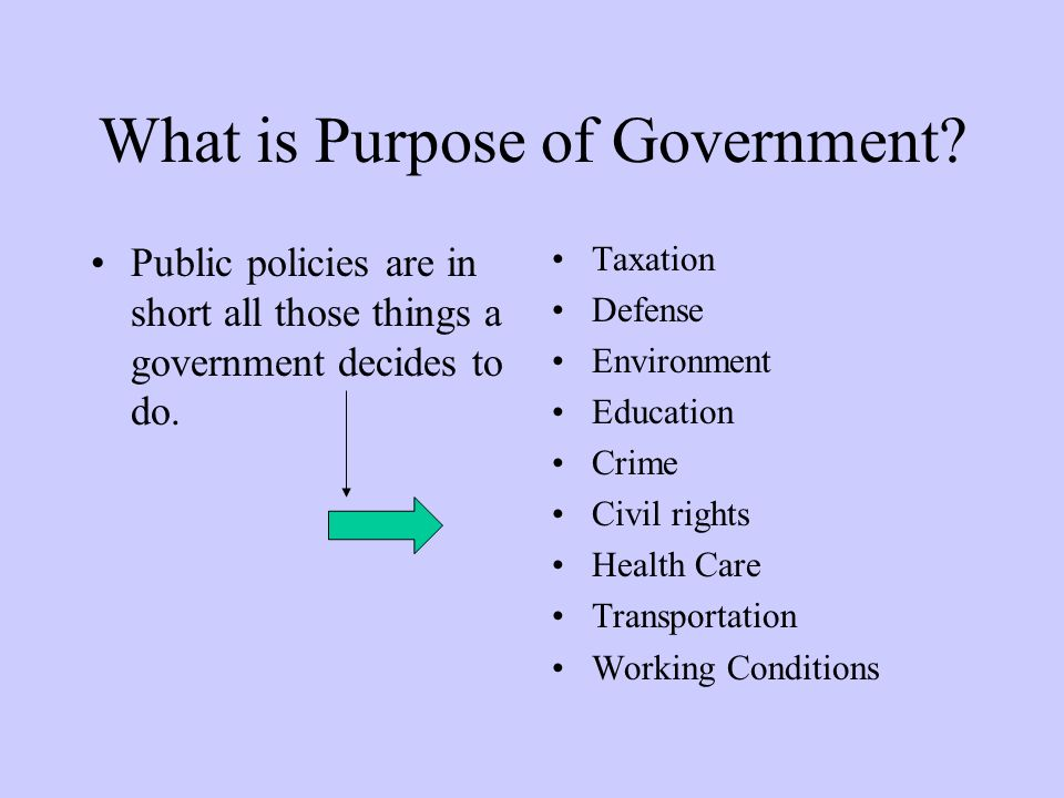 What is Purpose of Government.