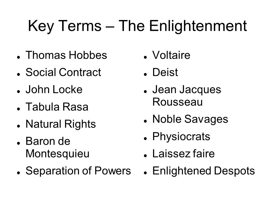 key terms – the enlightenment thomas hobbes social contract john