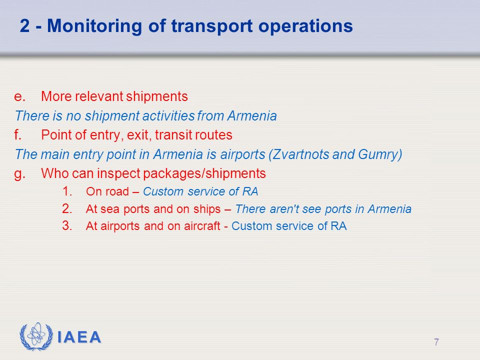 IAEA 2 - Monitoring of transport operations e.