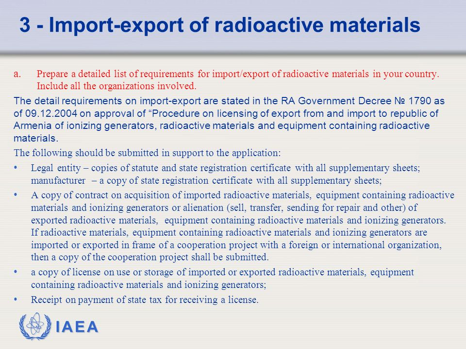 IAEA 3 - Import-export of radioactive materials a.