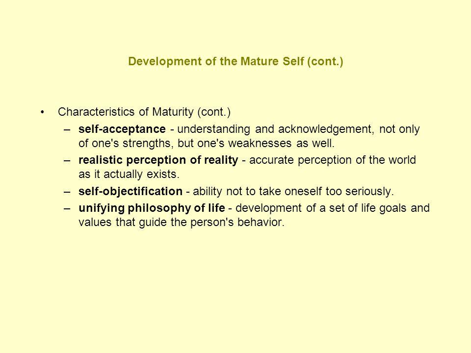 Characteristics a mature person
