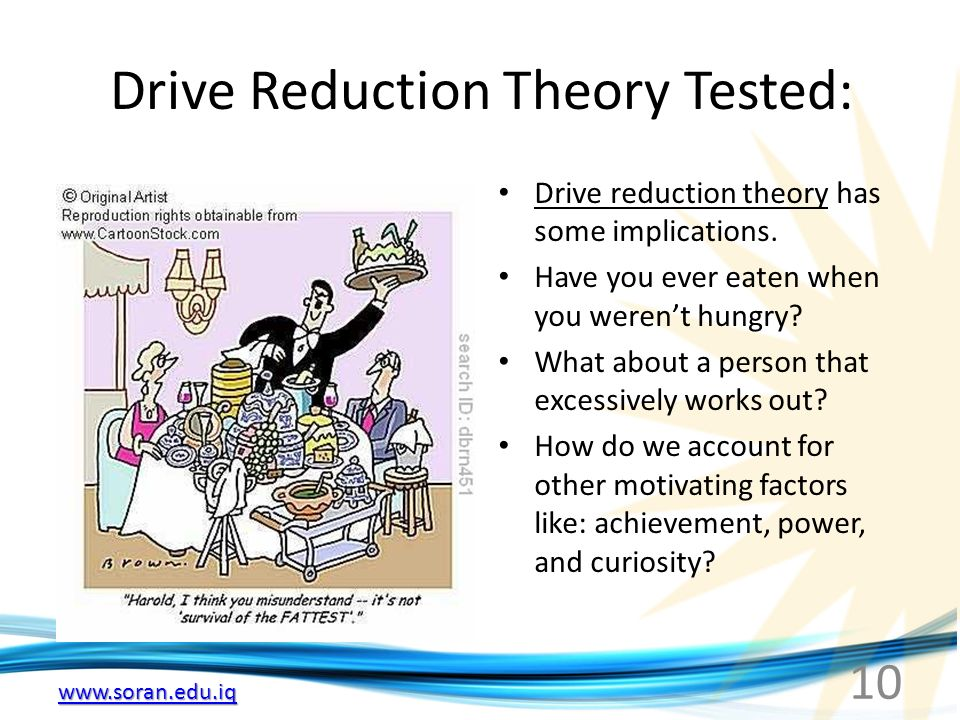10 Drive Reduction Theory Tested: Drive reduction theory has some implications.