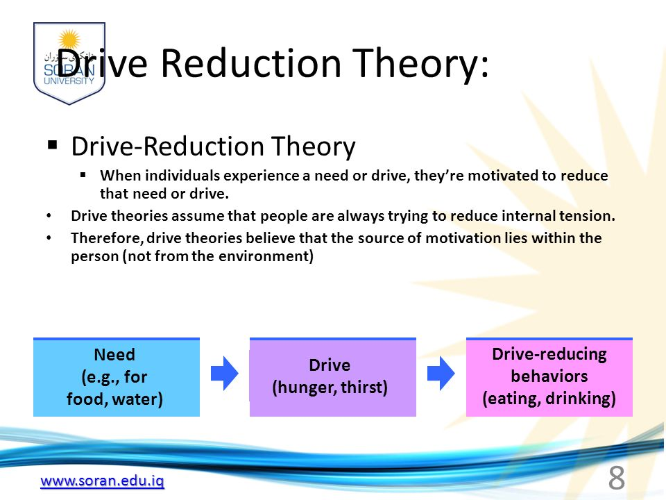 8 Drive Reduction Theory:  Drive-Reduction Theory  When individuals experience a need or drive, they're motivated to reduce that need or drive.