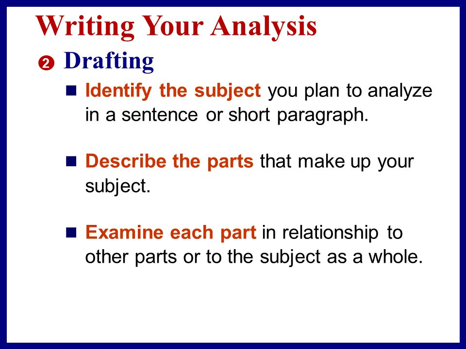 Writing Your Analysis 2 Drafting Now you are ready to organize your ideas.