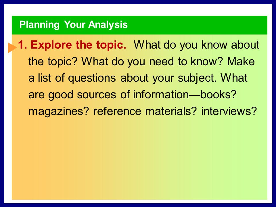 1 Prewriting You might begin your search for a topic by listing problems or issues that you want to understand better.