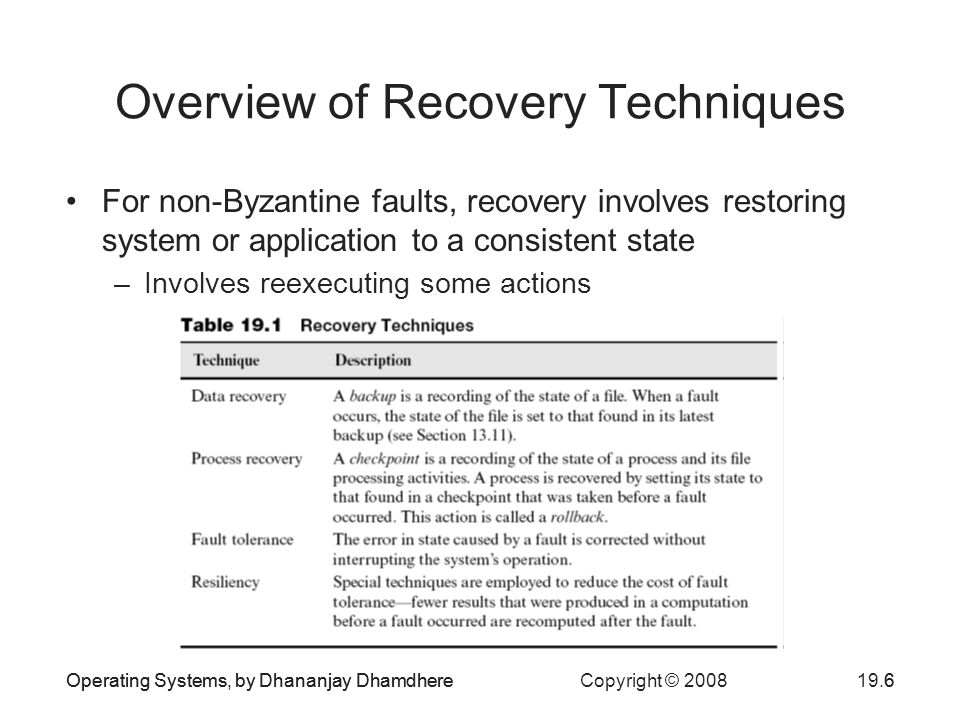 Operating Systems, by Dhananjay Dhamdhere Copyright © Operating Systems, by Dhananjay Dhamdhere6 Overview of Recovery Techniques For non-Byzantine faults, recovery involves restoring system or application to a consistent state –Involves reexecuting some actions