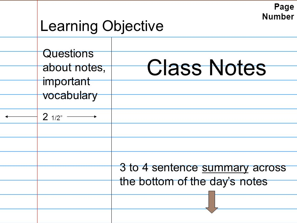 Page Number Learning Objective Questions about notes, important vocabulary Class Notes 2 1/2 3 to 4 sentence summary across the bottom of the day's notes