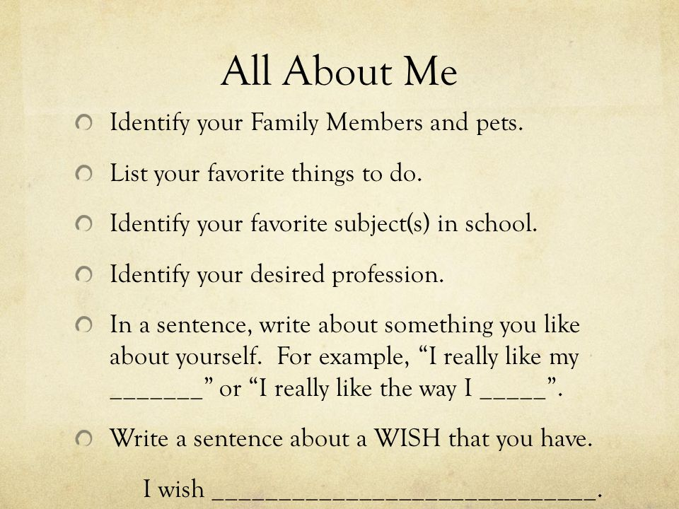 What to say in about me