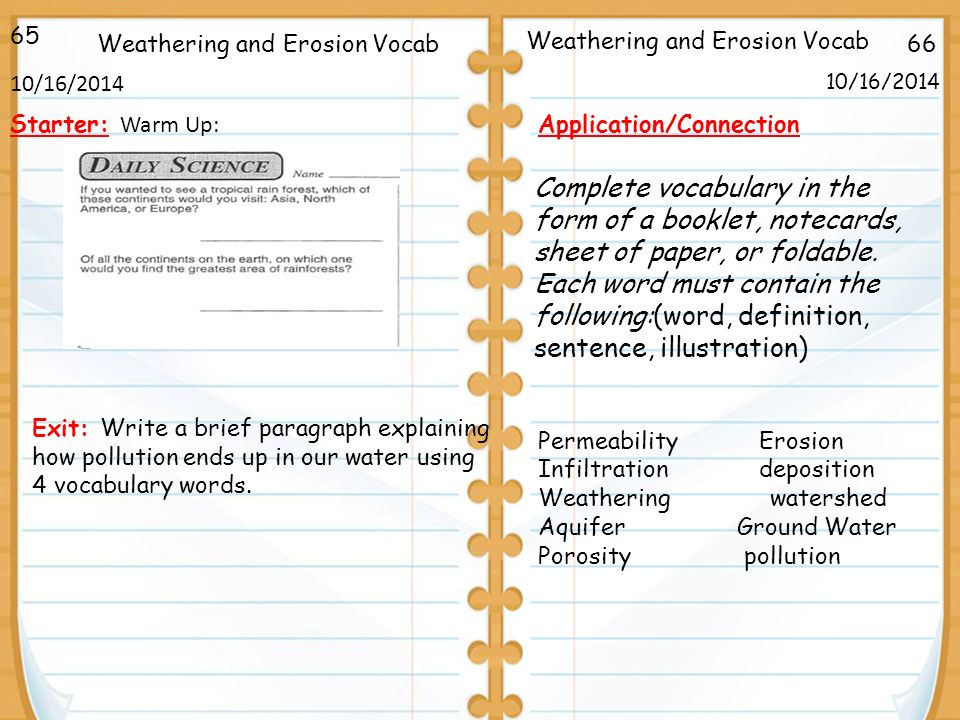 66 Weathering And Erosion Vocab 1016 162014 Starter Warm Up. 66 Weathering And Erosion Vocab 10162014 65. Worksheet. Worksheet 2 Groundwater Vocabulary Quiz At Clickcart.co