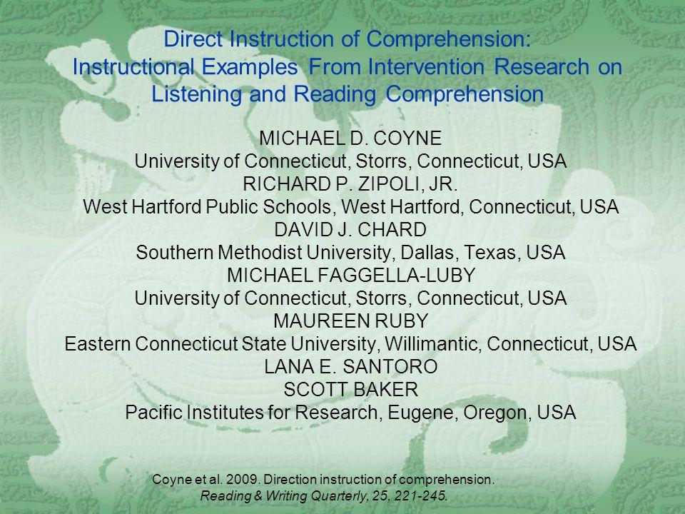 Coyne Et Al Direction Instruction Of Comprehension Reading