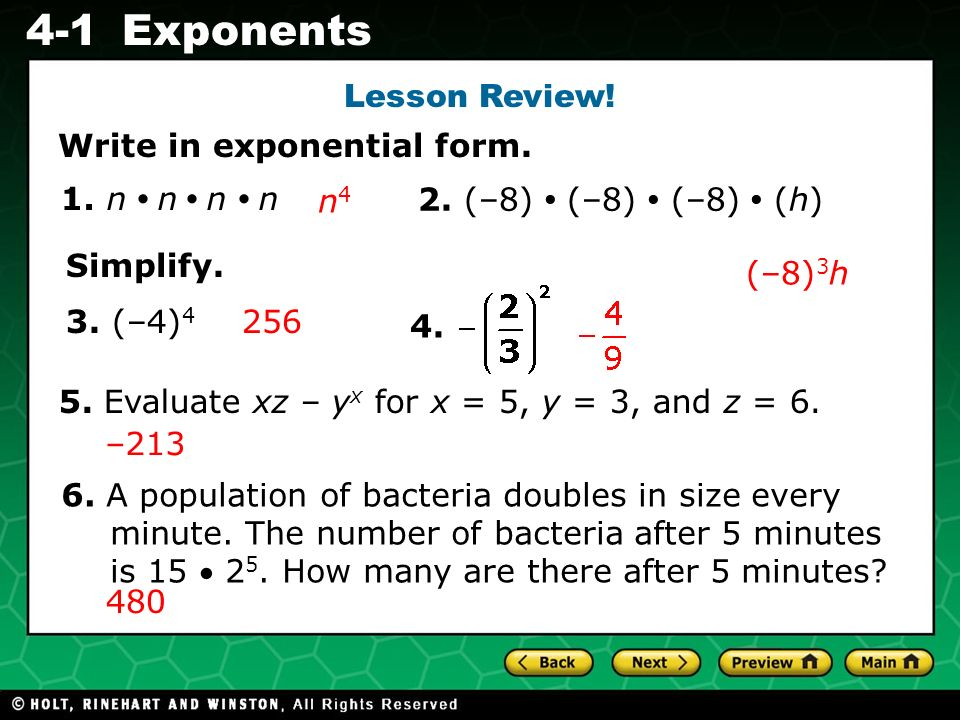 Evaluating Algebraic Expressions 4-1Exponents Lesson Review.
