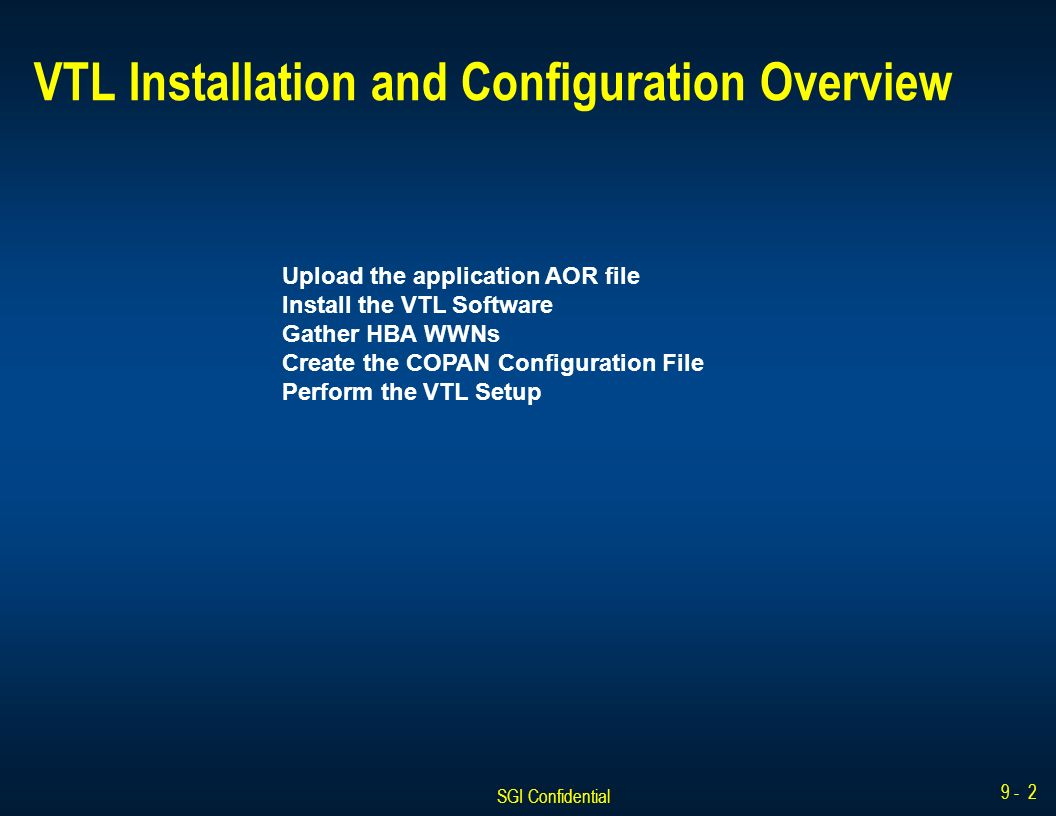 SGI Confidential Revolution VTL  SGI Confidential VTL