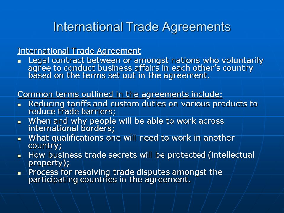 Topic 7 Canada And International Trade Agreements Ppt Download