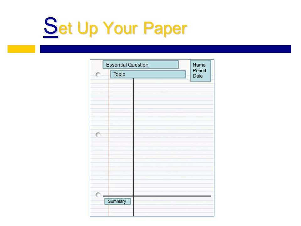 S et Up Your Paper Topic Essential Question NamePeriodDate Summary