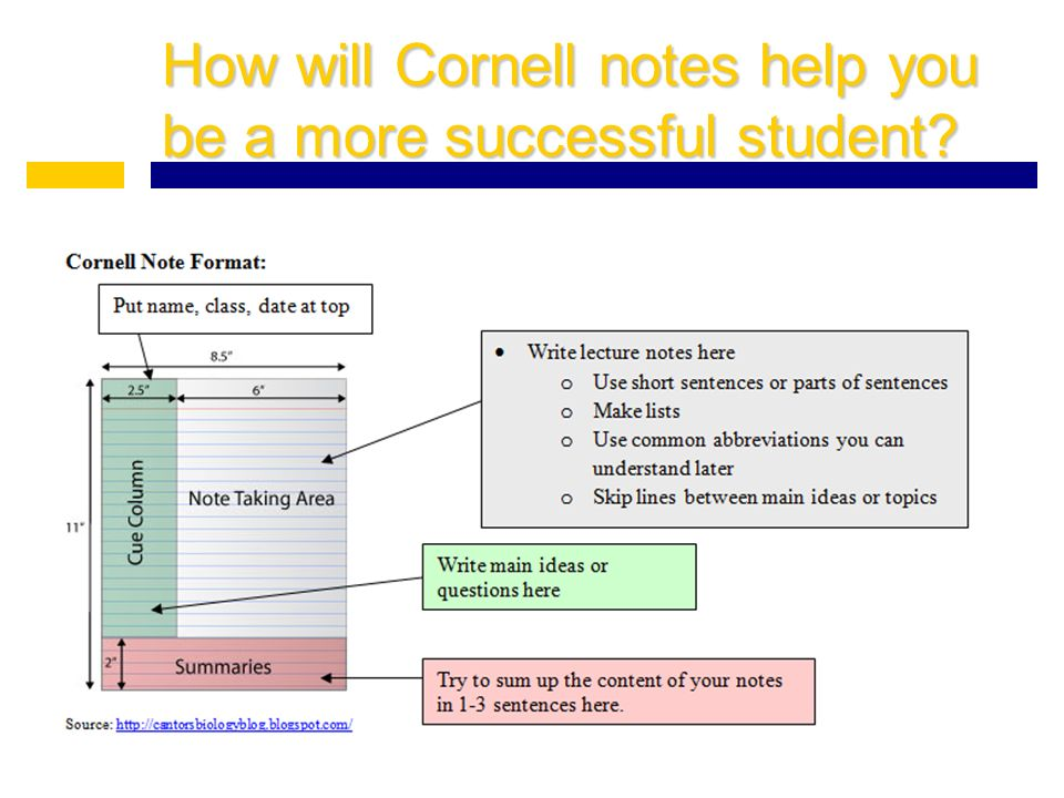 How will Cornell notes help you be a more successful student