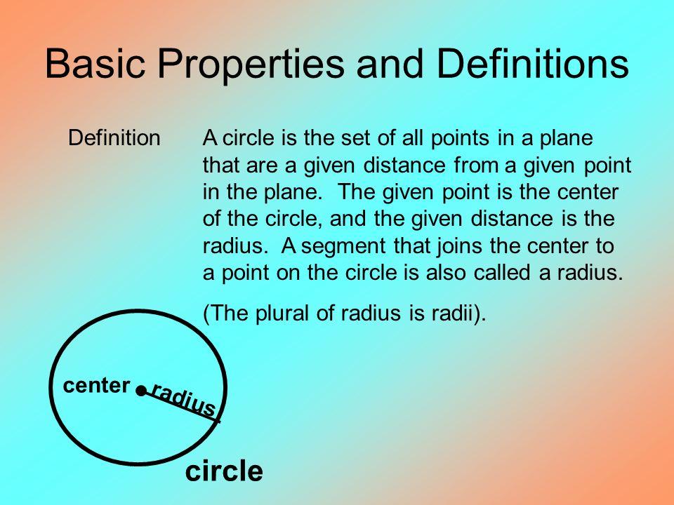 characteristics of a circle