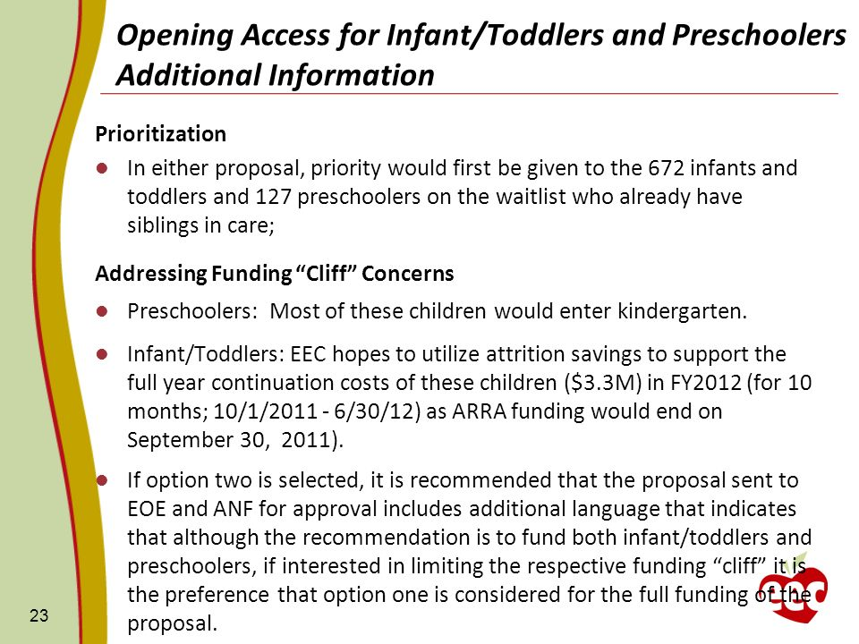Prioritization In either proposal, priority would first be given to the 672 infants and toddlers and 127 preschoolers on the waitlist who already have siblings in care; Addressing Funding Cliff Concerns Preschoolers: Most of these children would enter kindergarten.