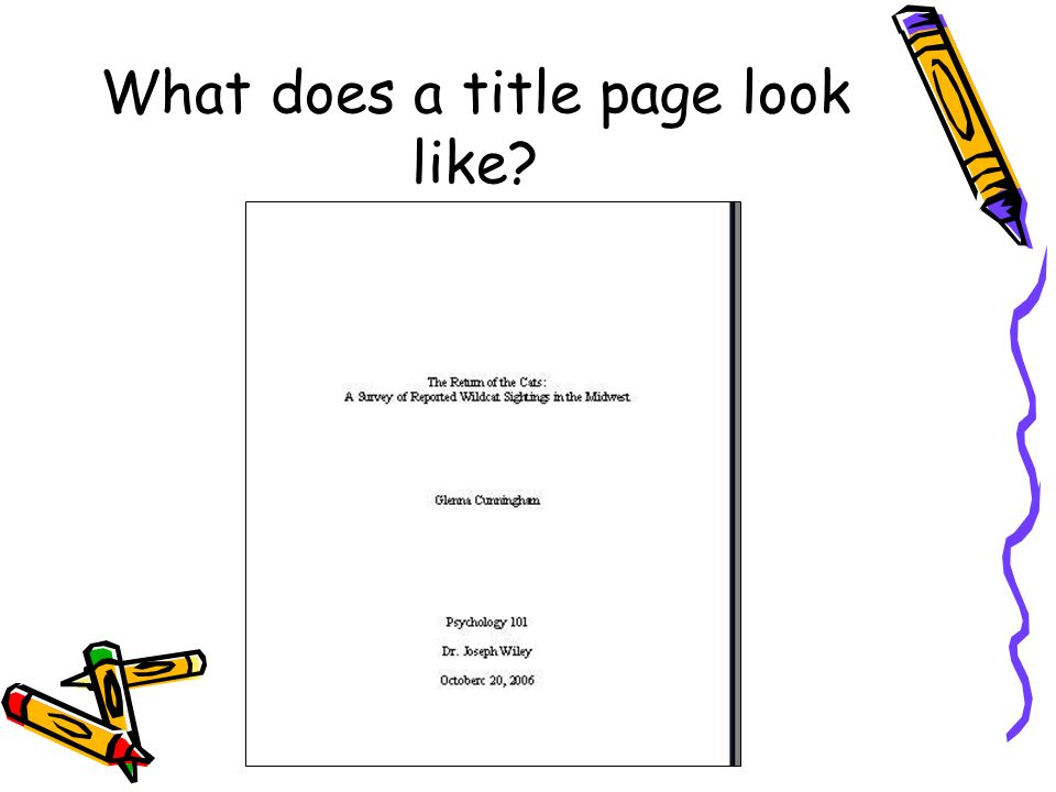 What does a title page look like