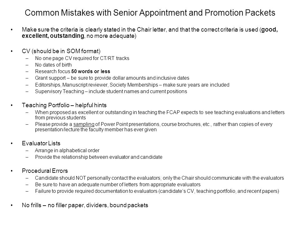 Faculty Appointments TYPES PROCESS COMMON MISTAKES RESOURCES