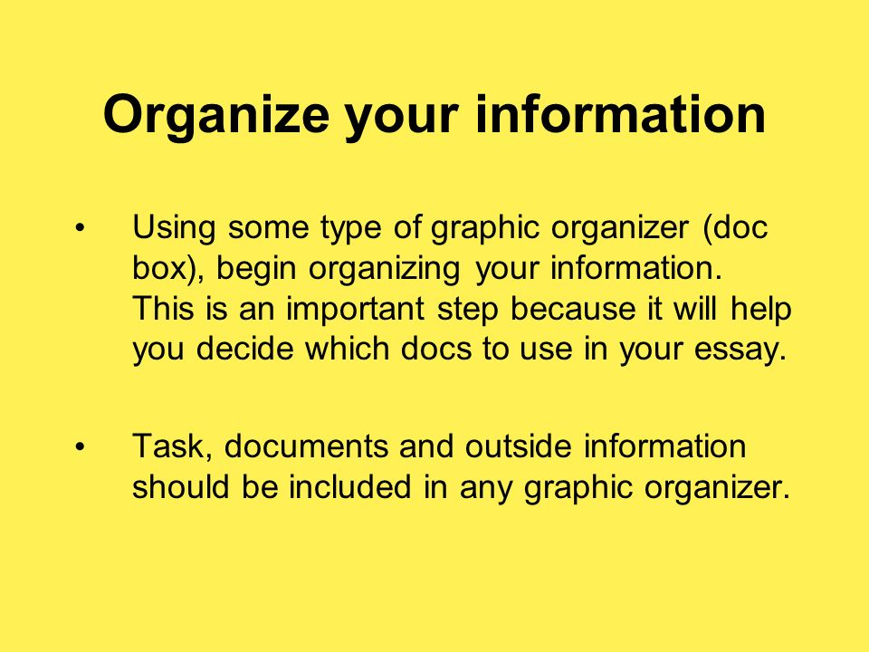 Organize your information Using some type of graphic organizer (doc box), begin organizing your information.