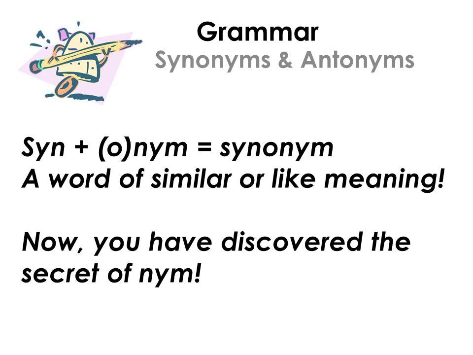 Understand synonym