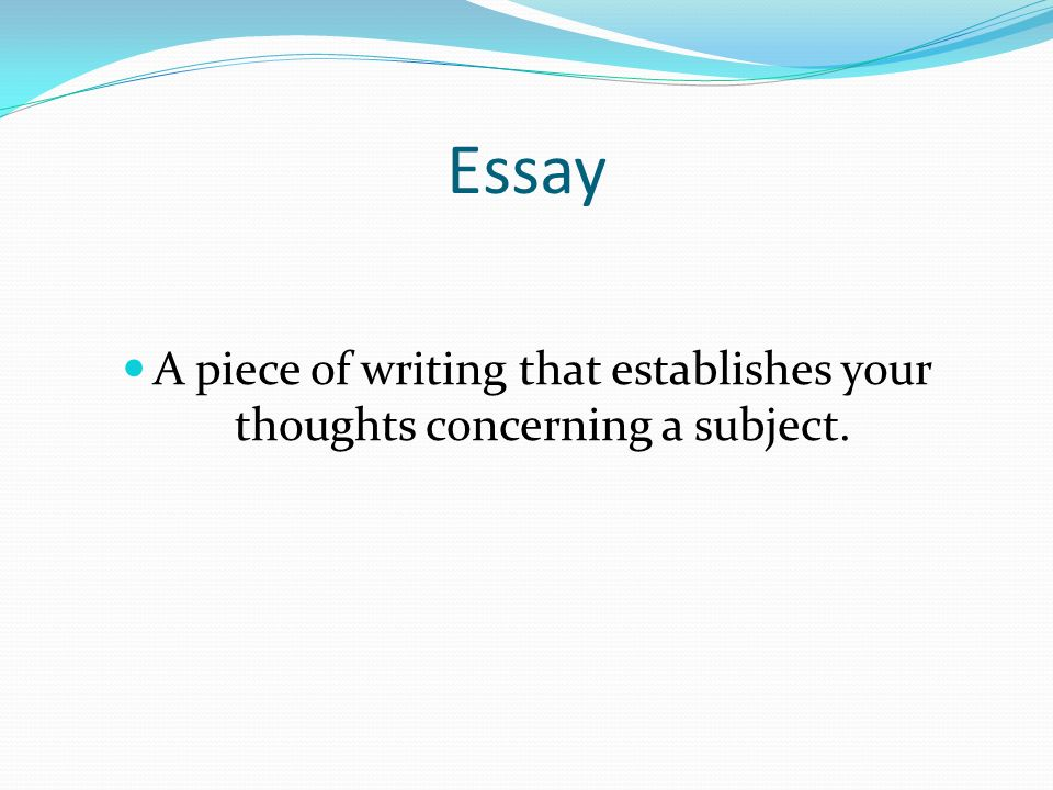 Essay A piece of writing that establishes your thoughts concerning a subject.