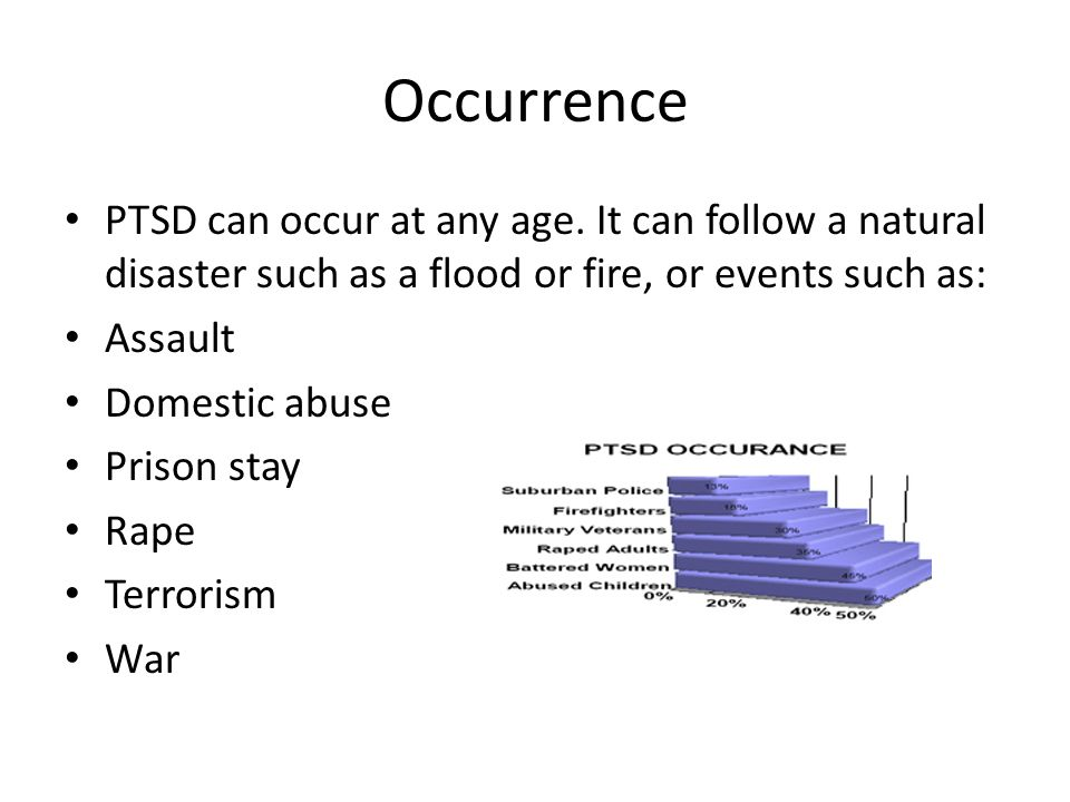 Occurrence PTSD can occur at any age.