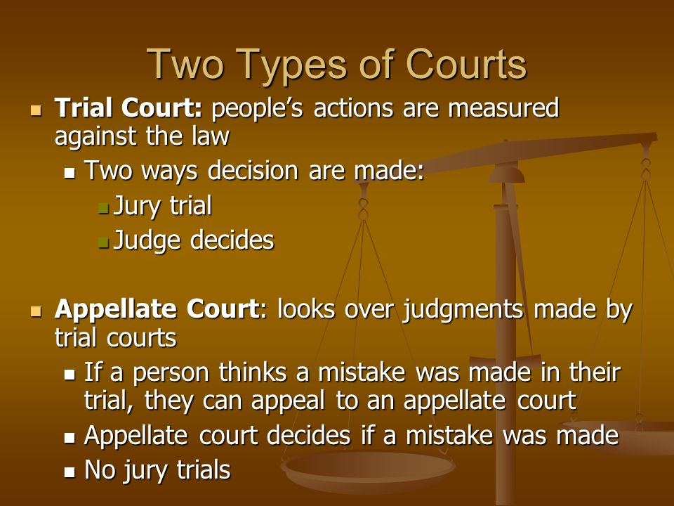 Two Types of Courts Trial Court: people's actions are measured against the law Trial Court: people's actions are measured against the law Two ways decision are made: Two ways decision are made: Jury trial Jury trial Judge decides Judge decides Appellate Court: looks over judgments made by trial courts Appellate Court: looks over judgments made by trial courts If a person thinks a mistake was made in their trial, they can appeal to an appellate court If a person thinks a mistake was made in their trial, they can appeal to an appellate court Appellate court decides if a mistake was made Appellate court decides if a mistake was made No jury trials No jury trials
