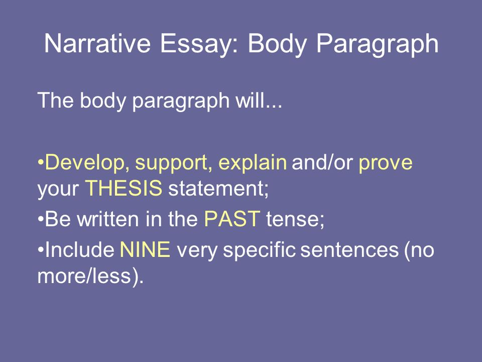 narrative essay body paragraph the body paragraph will