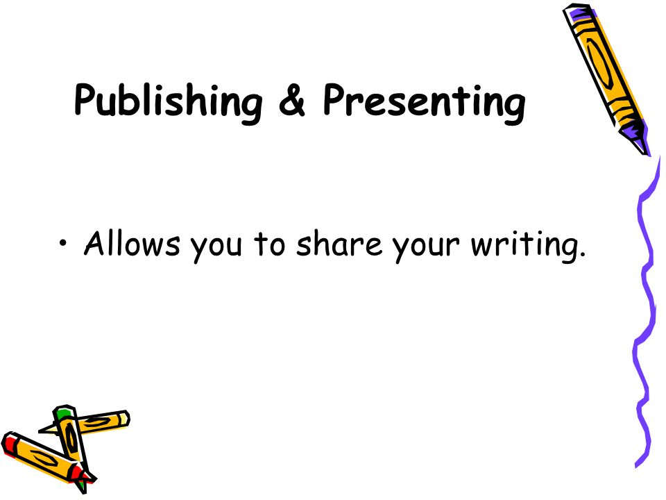 Publishing & Presenting Allows you to share your writing.