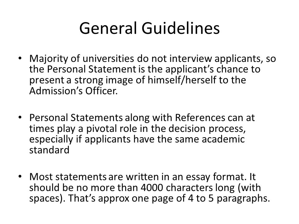 guidelines for writing a personal statement