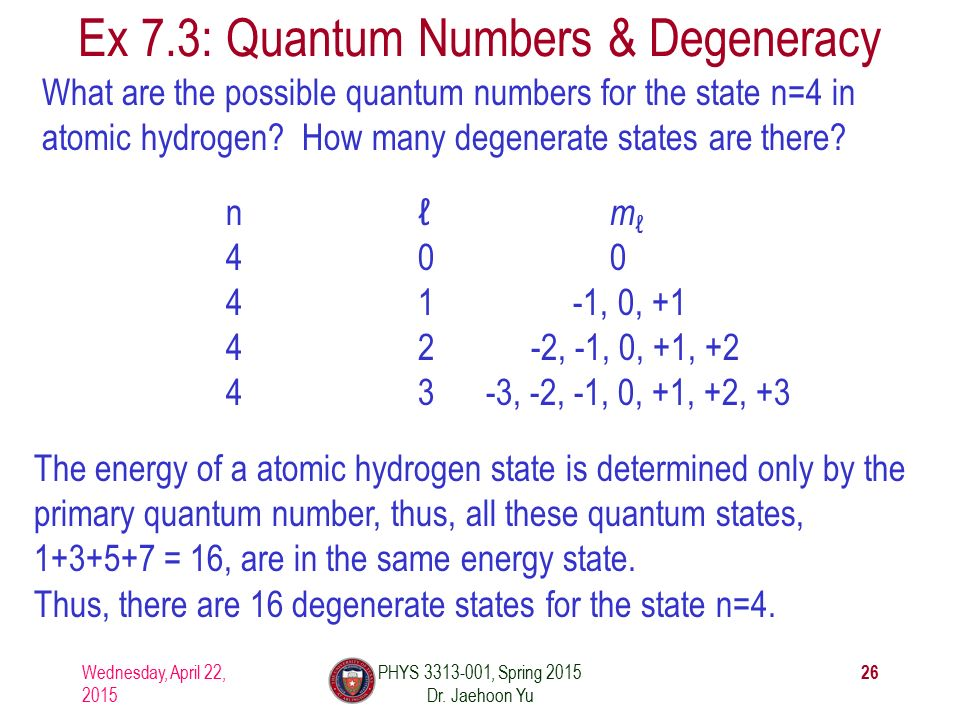 What are the possible quantum numbers for the state n=4 in atomic hydrogen.