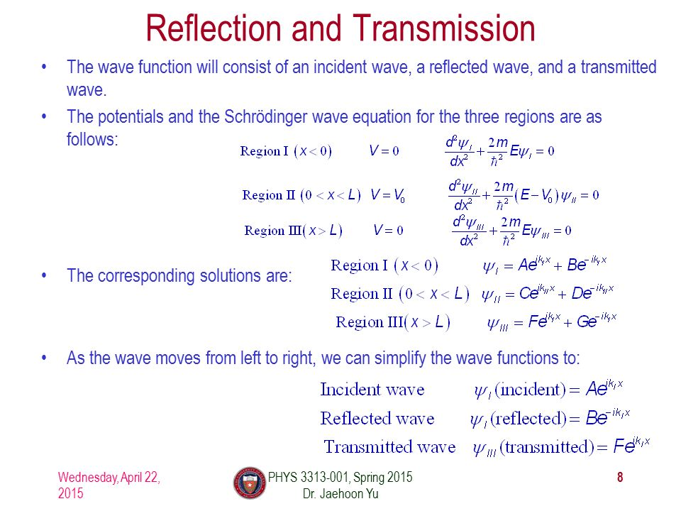 Reflection and Transmission The wave function will consist of an incident wave, a reflected wave, and a transmitted wave.