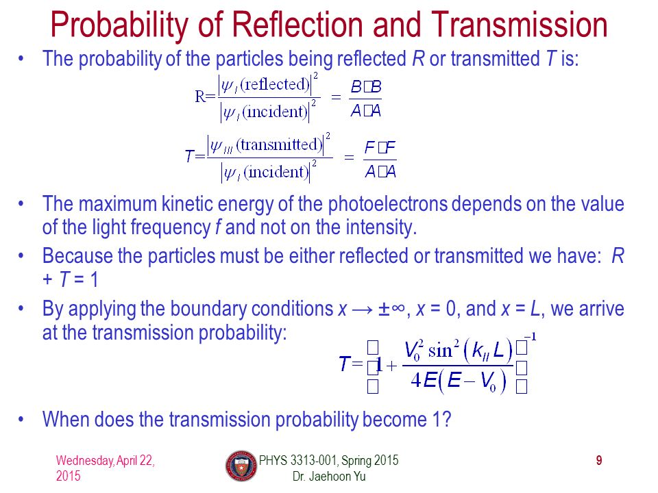 Probability of Reflection and Transmission The probability of the particles being reflected R or transmitted T is: The maximum kinetic energy of the photoelectrons depends on the value of the light frequency f and not on the intensity.