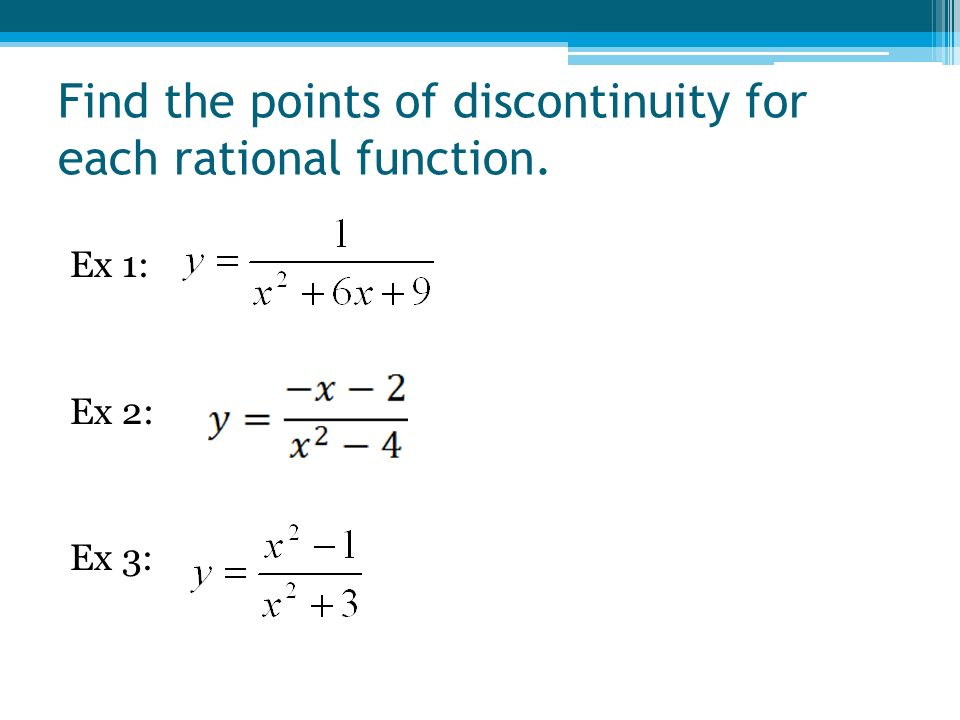 Find the points of discontinuity for each rational function. Ex 1: Ex 2: Ex 3: